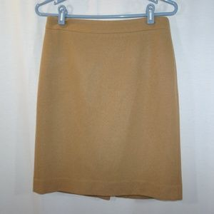 J CREW The Pencil Skirt Camel Tan Wool Lined